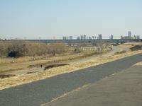 斎場脇を流れる荒川の土手からの風景