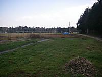 正面から左側は一面の畑。50mほど先にブルーシートのかかった高さ1mほどの小山