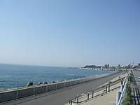 ロードパークから見た堤防と左手に広がる太平洋