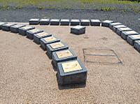 パーキングエリアの庭にサッカー選手の足形が2列に並べられている