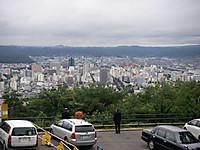 第一展望台には登らず直下の駐車場から福島市街を眺めている人たち