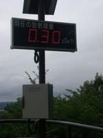 駐車場の隅に設置されたリアルタイム線量計