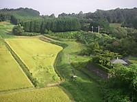 田んぼの脇に細い未舗装の農道が曲がりくねって続いている。