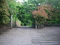 駐車場から入口広場へ入ると正面は四阿へ降りて小吊橋へ続く道
