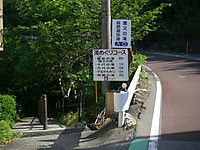 県道へ出たところ。「粟又の滝自然遊歩道入口」「滝めぐりコース 養老の滝200メートル、(中略)下り口」という看板が。