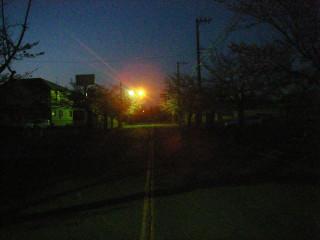 バリケードの隙間から覗いた向こう側は遠くの交通信号が灯るだけの暗闇。