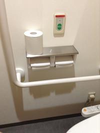 便器右側の壁にL字手すり、ダブルのペーパーホルダーとその上に非常用ボタンがあるトイレの個室