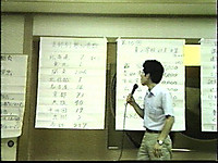 大広間に模造紙を貼って参加者数や会計の報告をするセンター事務局員