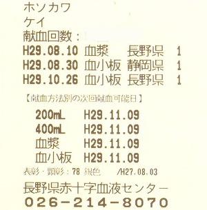 献血カード松本