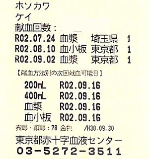 献血カード:東京で血漿