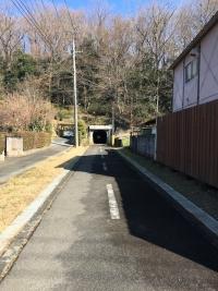 道の先にある小山の麓に開くトンネルの口