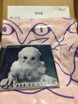 ジャケットがフクロウの被り物をしたキーボード奏者のCDとピンク地にたくさんの目の模様のTシャツ
