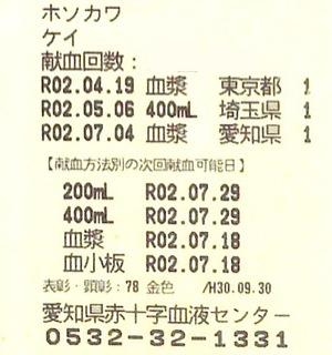 献血カード:愛知県で血漿