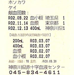 献血カード:神奈川で全血400mL